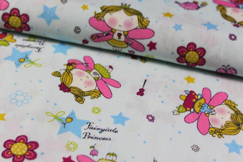 """Baumwollstoff """"Fairytale Princess"""", hellblau"""