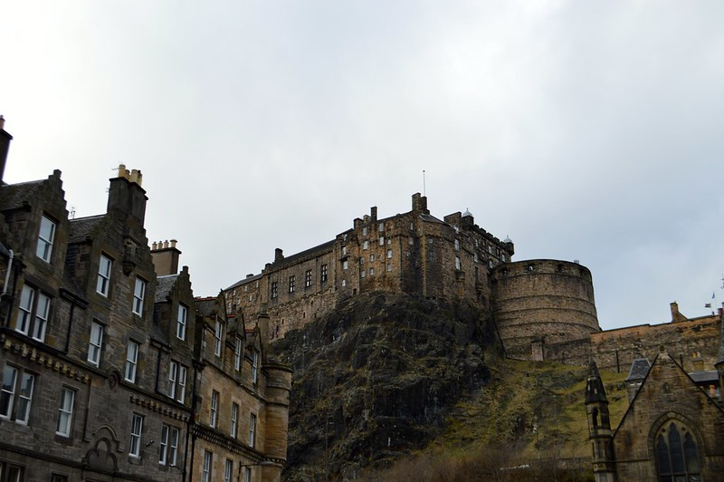This is a photo of edinburgh castle taken from grass market
