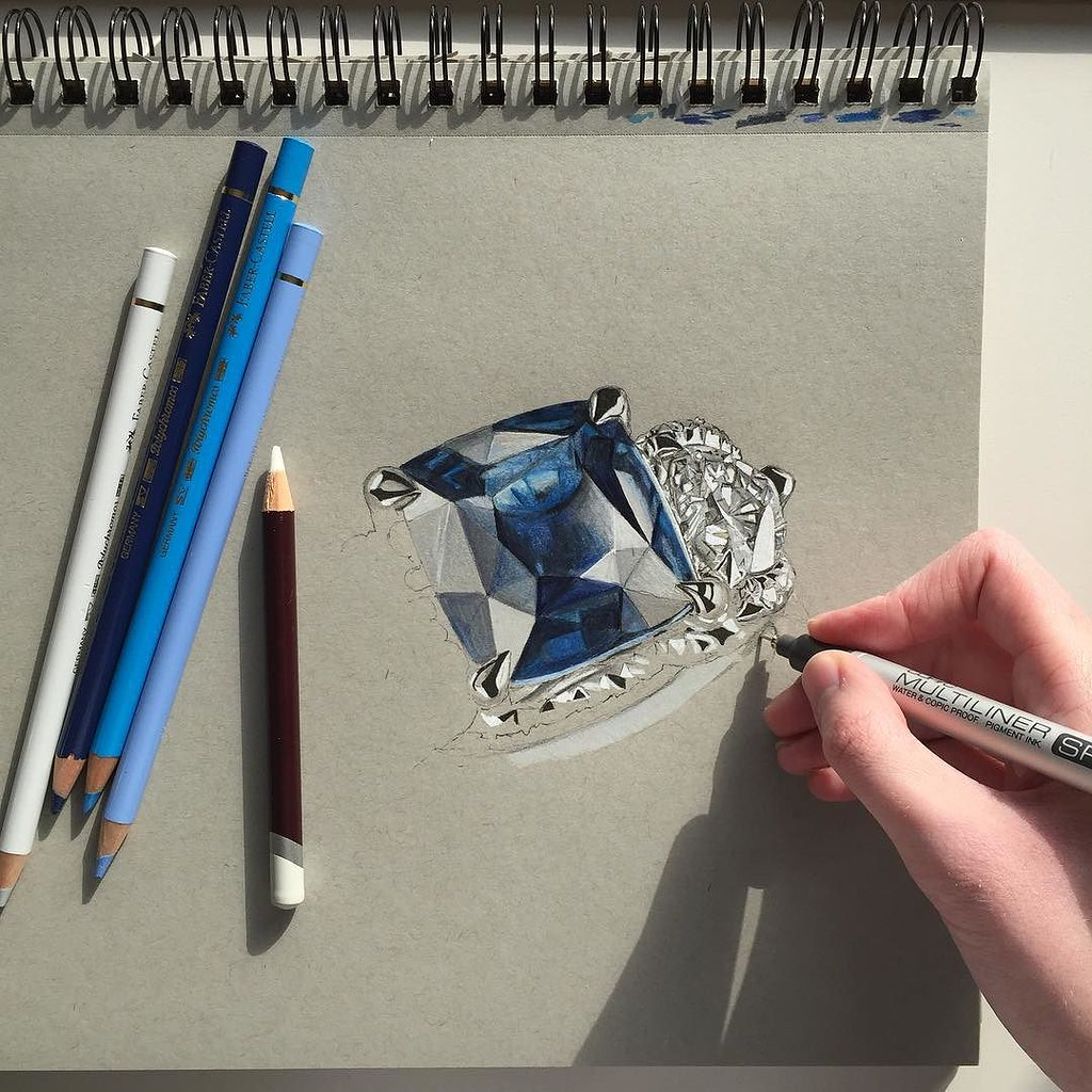 Jewelry Design Line Art : Attempting to draw a beautiful sapphire officialfaberge r