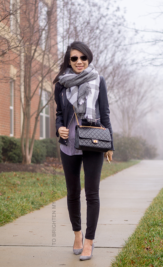 gray plaid blanket scarf, black leather jacket, blue striped button up shirt, black skinny jeans, gray suede pumps