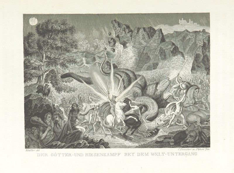 "Illustrations from ""The World Theater, or The Universal World History From Creation To The Year 1840, etc"" by C Strahlheim, 1834-41 - The Gods Battle At The End Of The World"