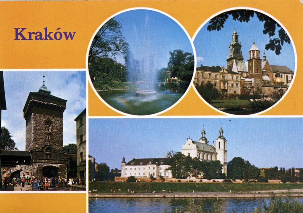 Carte postale de Cracovie pendant l'époque communiste (années 1970/1980) : Audace des formes, couleurs chatoyantes et choix des photos.
