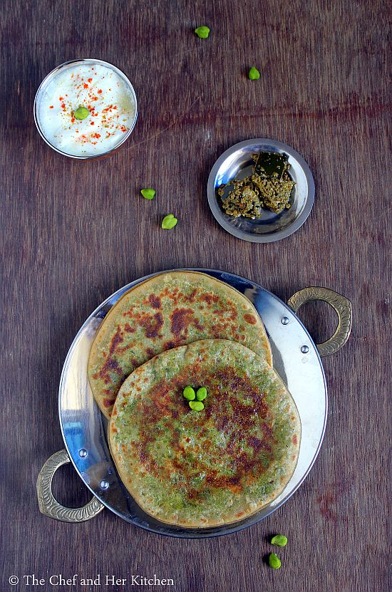 fresh green chickpeas paratha