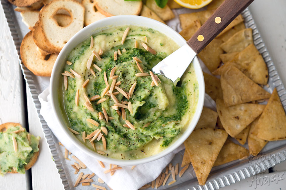 This Creamy Cauliflower Pesto Dip is oil-free, dairy-free, vegan and delicious! It makes a great, healthy appetizer for parties, or just to snack on.
