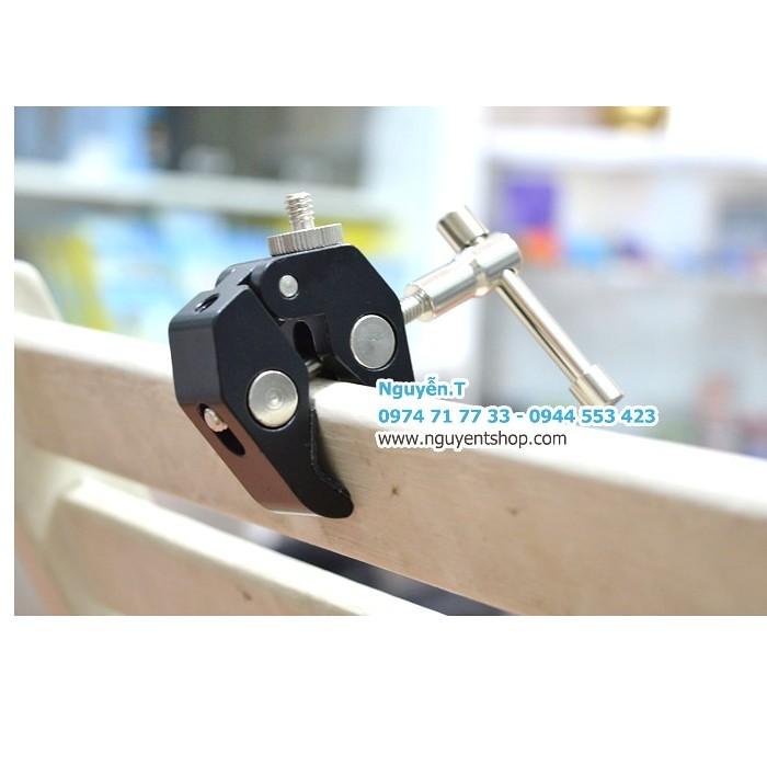 Kẹp ghi đông nhôm CNC chuẩn ốc 1/4 và 3/8 gắn đèn LED