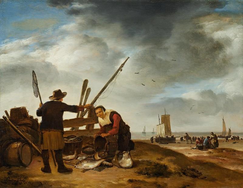 Egbert van der Poel - Fischer am Strand von Scheveningen (1653)