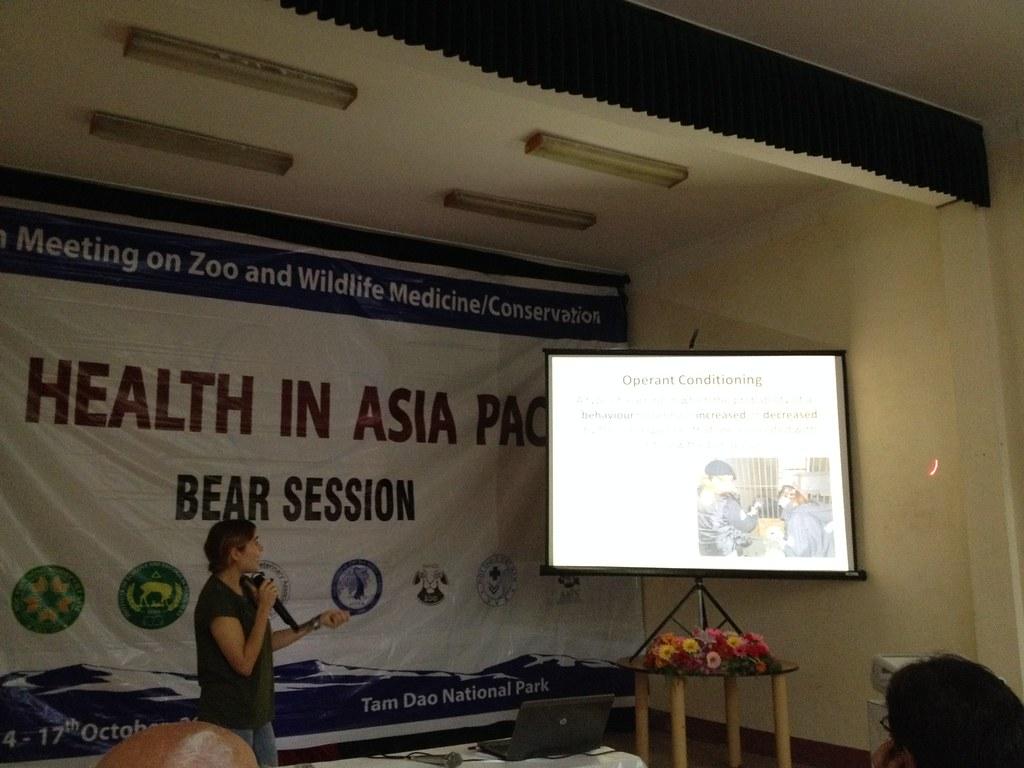 Bear Manager Sarah Dempsey gives a speech at an animal wel