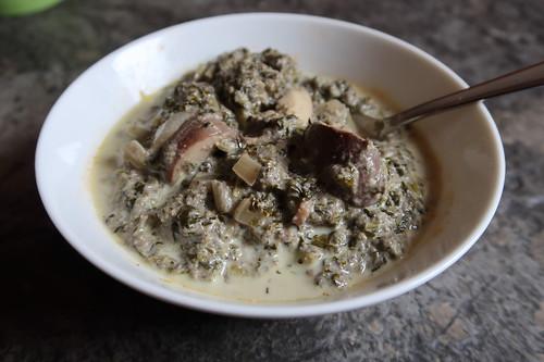 Grünkohl-Champignon-Eintopf (mein 1. Schälchen)