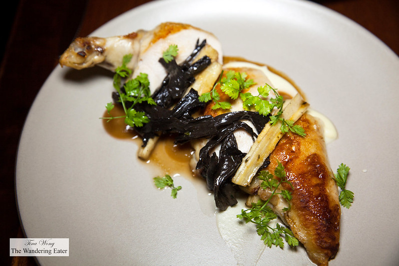 Roasted Amish Chicken Breast, Black Trumpet Mushrooms, Parsnip, Pickled Golden Raisins