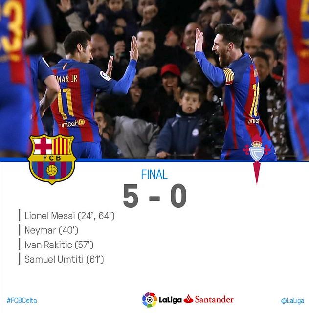La Liga (Jornada 26): FC Barcelona 5 - Celta 0