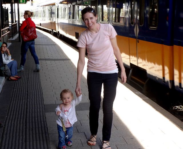 Paige and I on a train platform in the Netherlands.
