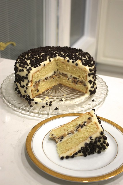 This Year He Asked For A Super Decadent Chocolate Chip Cookie Dough Cake The Layers Were Dense Golden Vanilla With
