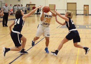 "Penn Charter ninth grader Hayley ""Pumpkin"" Hunt . . . the ball replaces her head. 