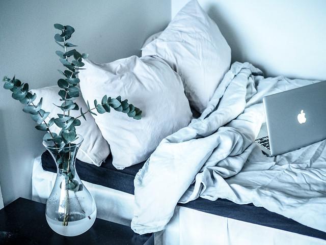 LetsStayInBedHomeVibesMacEucalyptus-1281738.jpg, home, koti, interior, decor, sisustaminen, kodin sisustus, pellavalakanat, harmaa, gray, bed, sänky, koti, home, interior, inspiration, home interior, kodin sisustus, sheets
