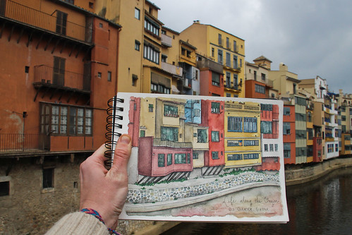 Sketching an iconic riverscape in Girona, Spain, where I had the chance to be a sketch artist-in-residence for six weeks. Artist Candace Rose Rardon