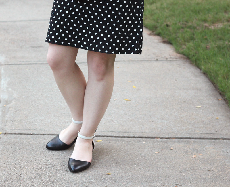 Polka Dot Dress and Black and White Steve Madden Flats
