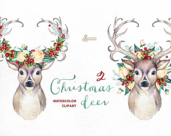 reindeer christmas deer 2 watercolor deers antlers flowers hand painted clipart reindeer - Christmas Reindeer 2