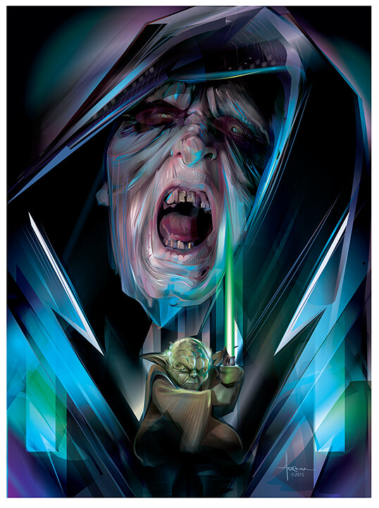 Star Wars: Adversaries By Orlando Arocena - Emperor vs Yoda