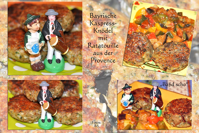 Bayrische Kaspressknödel mit Ratatouille aus der Provence ... Baßd scho ... Vegetarisches Hauptgericht ... Fotos und Collagen: Brigitte Stolle, Mannheim