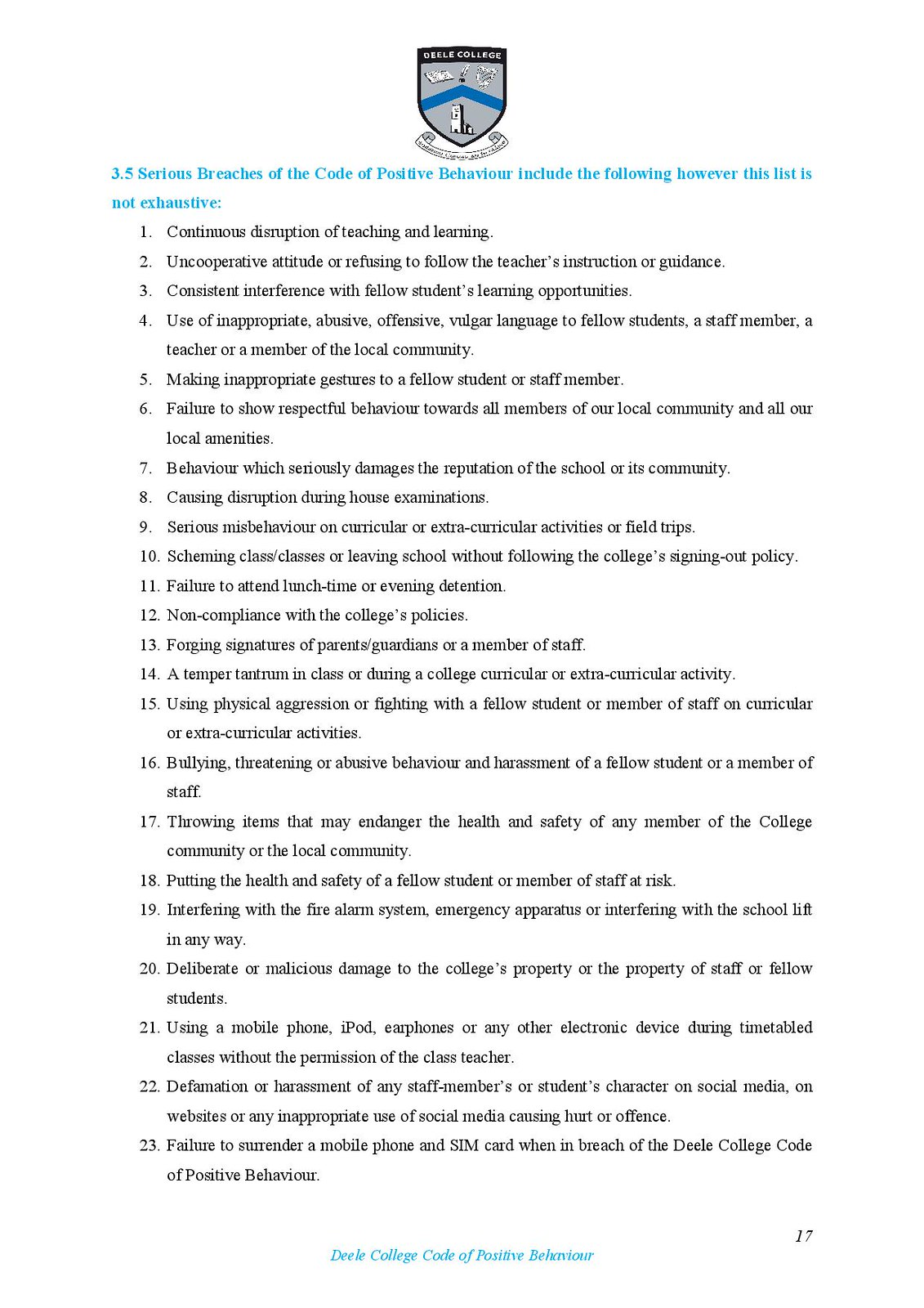 Deele College Code of Positive Behaviour Booklet 2016-page-017