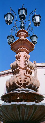 A fountain with lamps in Zacatecas, Mexico