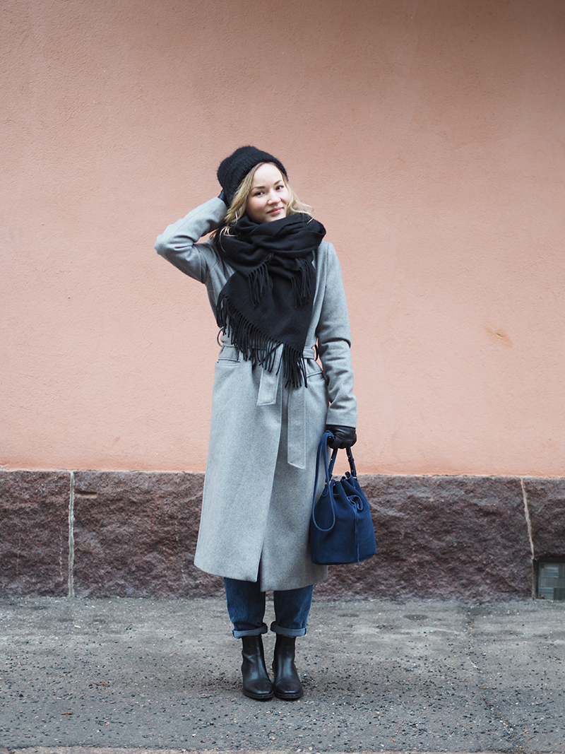 Minimum long grey wool coat