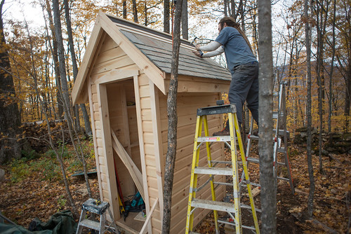 Shlomy Nailing Slate on Outhouse Roof | by goingslowly