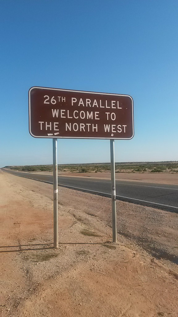 Road sign in Western Australia - the 26th Parallel