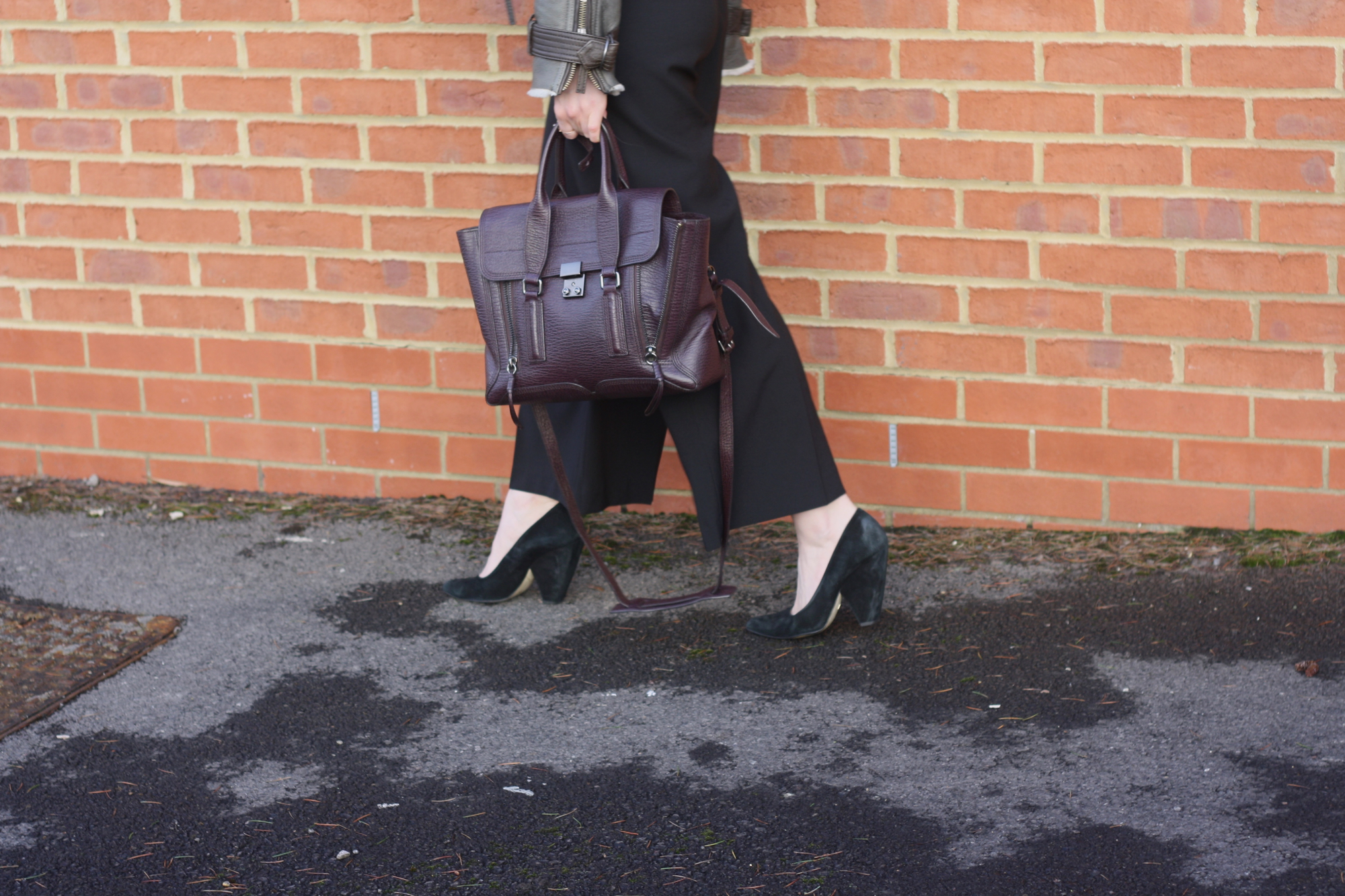 Whistles black suede heels, 3.1 Phillip Lim Pashli burgundy medium and Zara black trousers
