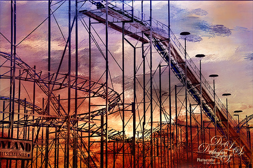 Image of a deserted Roller Coaster at Daytona Beach