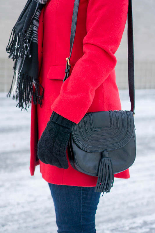 black sweater + red winter coat + loft jeans + plaid scarf and flats | Style On Target blog