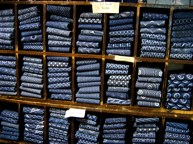 Indigo fabrics this shop specialized in indigo dyed for Where can you get fabric
