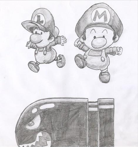 Baby Mario And Baby Luigi Drawing