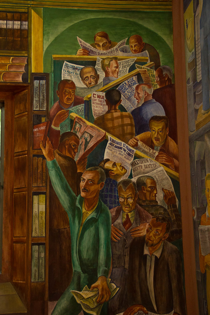 News of the day mural coit tower wpa art project flickr for Coit tower mural artists