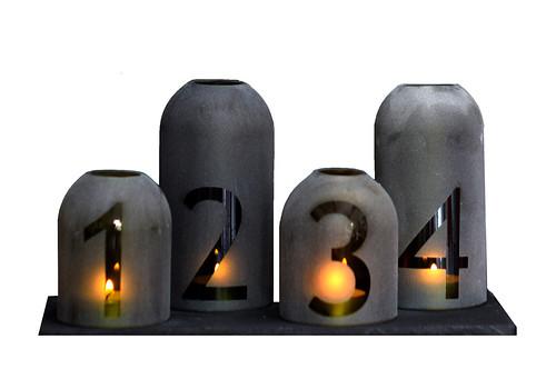 modern boros üveg adventi koszorú - körbevágott termékfotó
