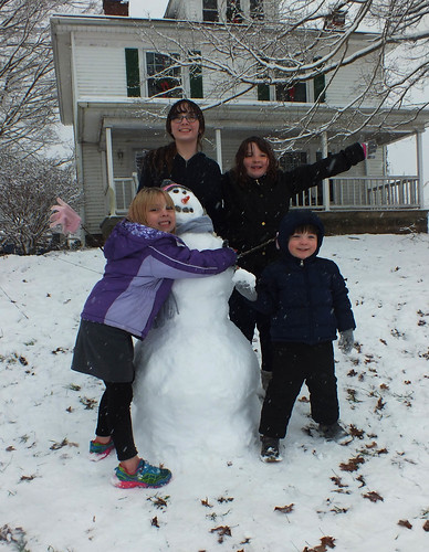The kids and their snowman