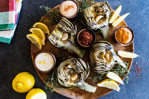 pan-seared artichoke with an aioli trio