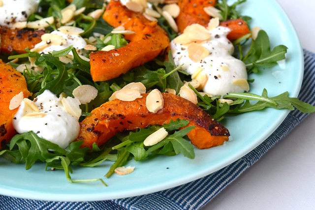 Warm Roasted Butternut Squash Salad and Rocket Salad with Whipped Feta | www.achelphipps.com @rachelphipps