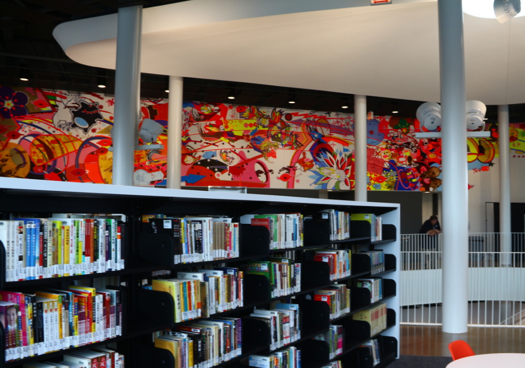 Mural at new chinatown branch library public building for Chinatown mural chicago