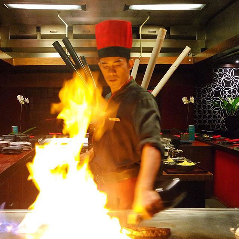 Chef on fire at KO Japanese Restaurant