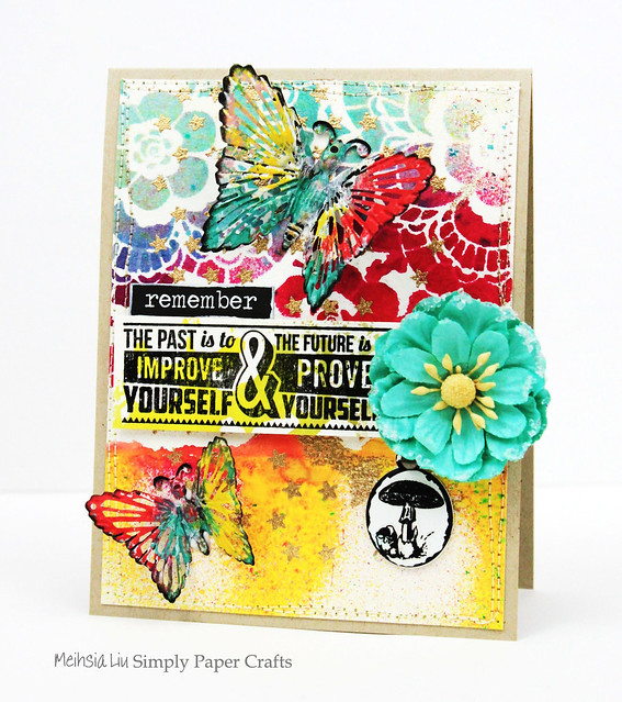 Meihsia Liu Simply Paper Crafts Mixed Media Card Butterfly Tim Holtz Prima Flowers Simon Says Stamp 1