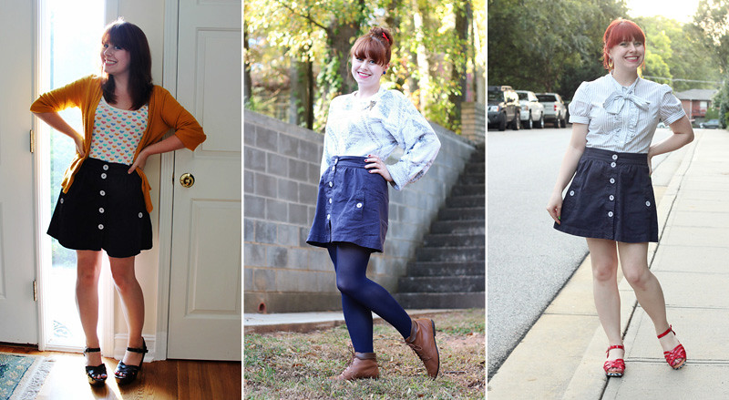 How to style a blue button down skirt
