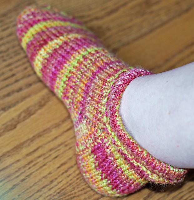Handspun handknit Corriedale wool Pierogi slipper sock