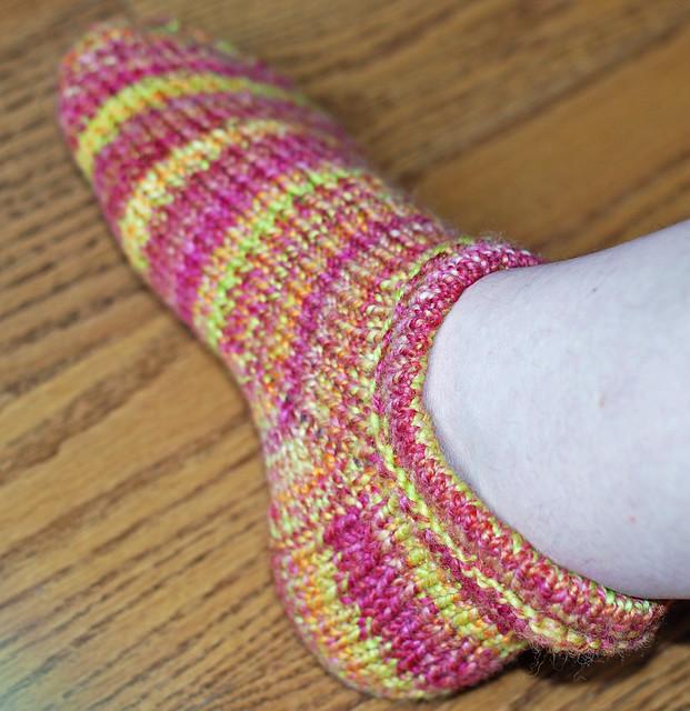 Handspun handknit Corriedale wool Pierogi slipper sock