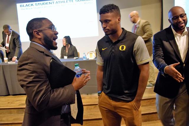 People talking at the Black Student-Athlete Summit