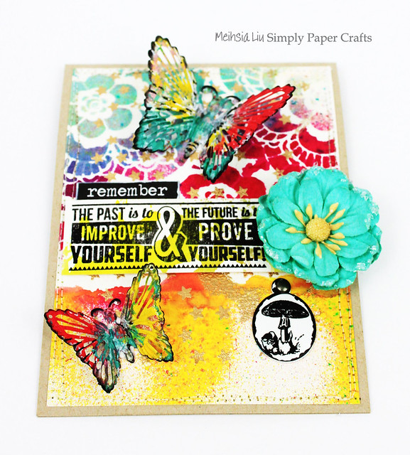 Meihsia Liu Simply Paper Crafts Mixed Media Card Butterfly Tim Holtz Prima Flowers Simon Says Stamp