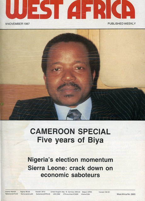 west africa 1987-11-09 5 years of Biya Cameroon Nigeria election momentum Sierra Leone economic saboteur