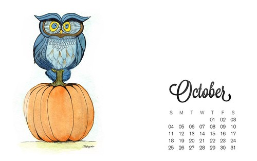 Desktop - October 2015 Calendar Wallpaper | by pizzazzdesign