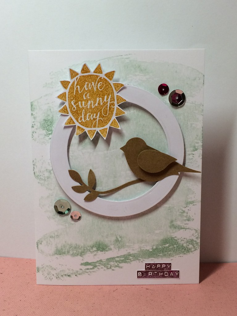 Stampin Up Sunny Day birthday card by StickerKitten using watercolour wash in mint macaron and silhouettes and script stamps