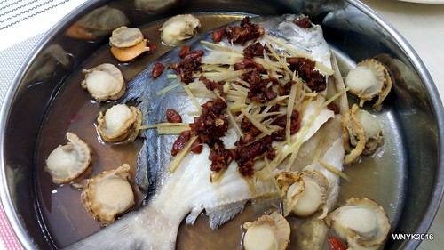 Steamed Pomfret with Scallops